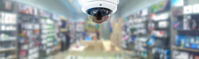 Dome security camera in a store